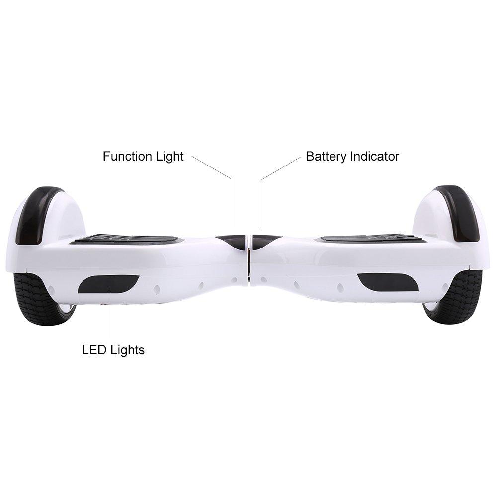 Hoverboard blanco 6.5 pulgadas funciones